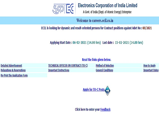 ECIL Recruitment 2021: Apply Technical Officer Posts