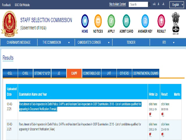 SSC CPO SI 2018 DME Result 2021