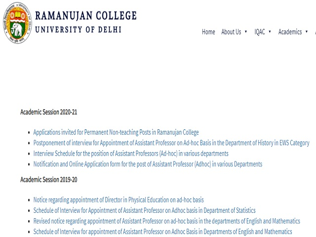 Ramanujan College Recruitment 2021: Apply for Non Teaching Posts