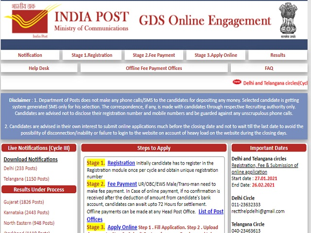 India Post Telangana Circle Recruitment 2021: Apply for Gramin Dak Sevak Posts @appost.in