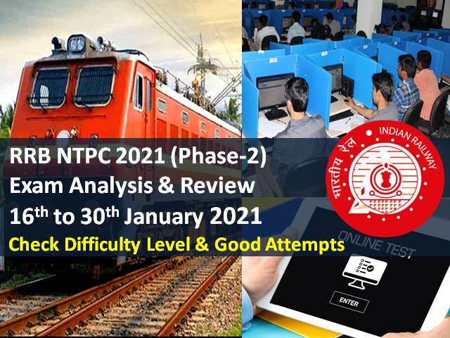 RRB NTPC 2021 Exam Analysis Phase-2 (28th-16th January): CBT Difficulty Level-'Moderate', Check Good Attempts to clear RRB NTPC cutoff marks