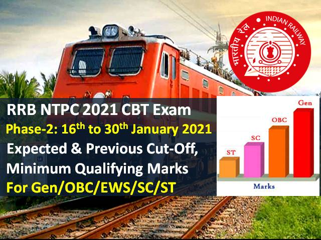 RRB NTPC 2021 Exam Expected Cutoff (Phase-2) Categorywise (Gen/OBC/ EWS/SC/ST): Check Minimum Qualifying Marks & Previous Cutoff Marks for RRB NTPC CBT