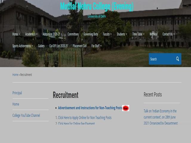 Motilal Nehru College Recruitment 2021: Apply Non-Teaching Posts