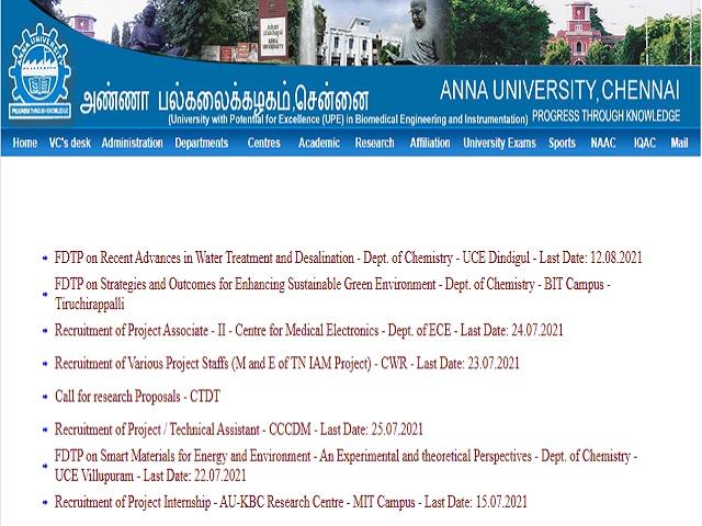 Anna University Recruitment 2021: Apply Project Coordinator, Project Associate II & Other Posts