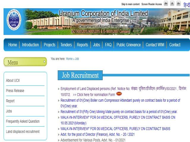 Uranium Corporation of India Limited (UCIL) Recruitment 2021: Apply UnSkilled Staff Posts