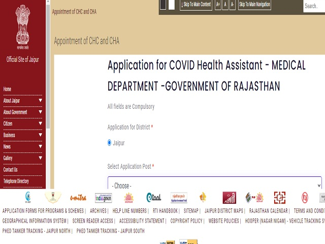CMHO Jaipur Recruitment 2021: Apply COVID Health Assistant Posts