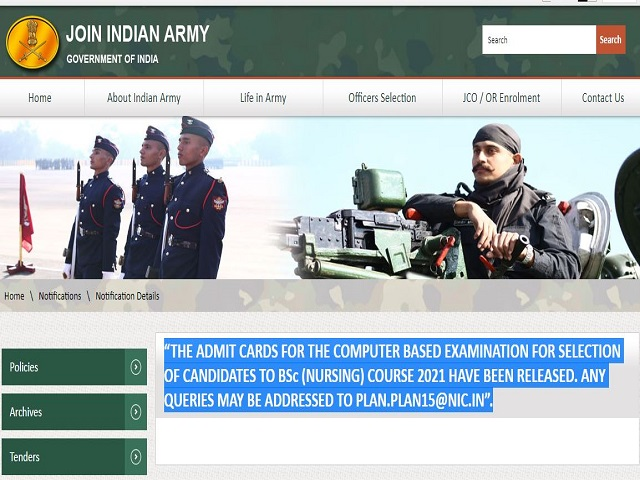 Indian Army MNS Admit Card 2021