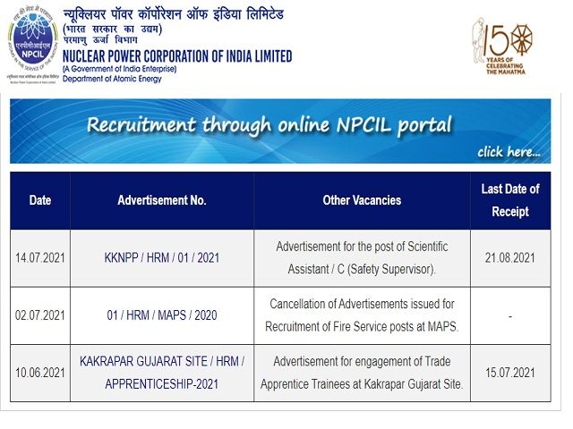 Nuclear Power Corporation of India Limited (NPCIL) Recruitment 2021: Apply Scientific Assistant Posts