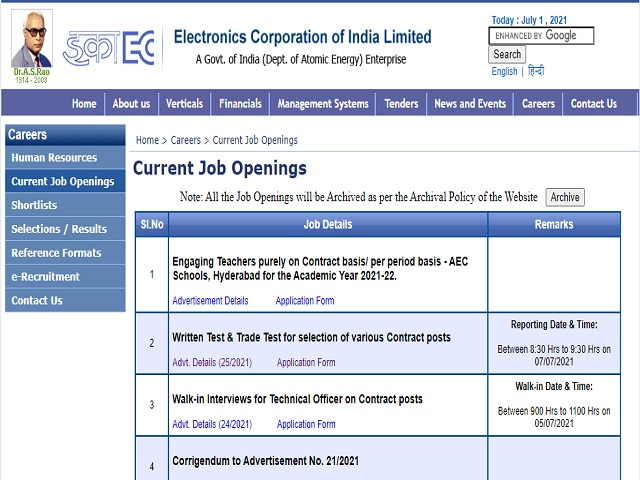 Electronics Corporation of India Limited (ECIL) Junior Artisan & Other Posts