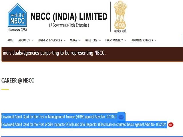 NBCC Admit Card 2021