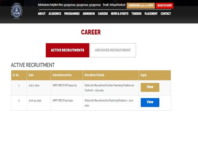 NRTI Recruitment 2021: Teaching and Non Teaching Posts