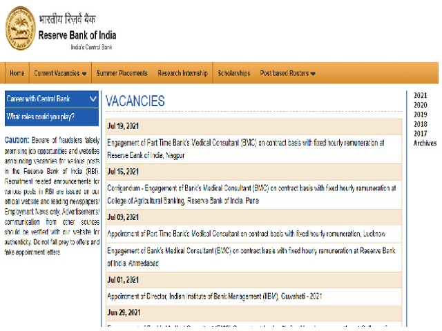 RBI Nagpur Recruitment 2021