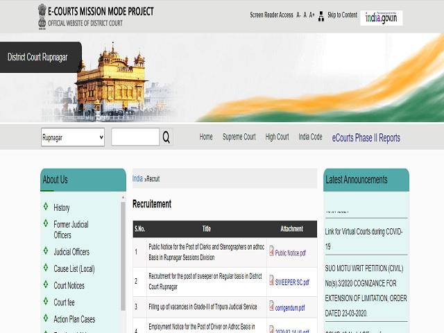 Rupnagar District Court Recruitment 2021: Apply Clerk and Stenographer Posts