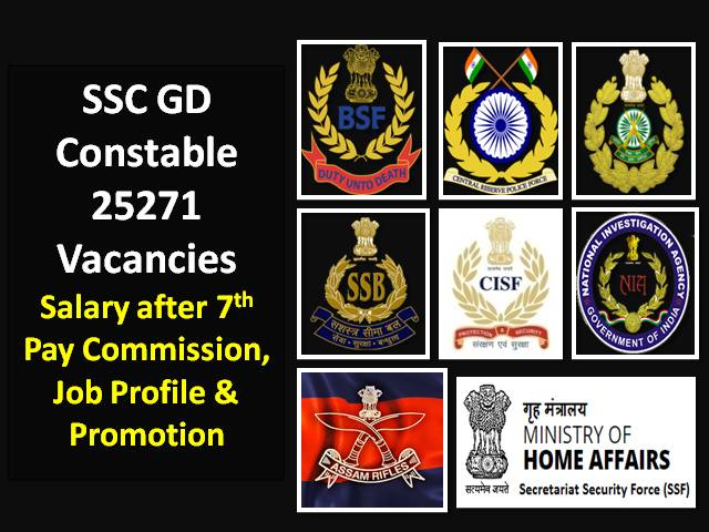 SSC GD Constable 2021 25271 Vacancies Recruitment Details: Check CAPF/BSF/CISF/ SSB/ITBP/Assam Rifles/SSF Salary after 7th Pay Commission, Job Profile & Promotion