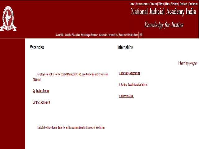 National Judicial Academy Recruitment 2021