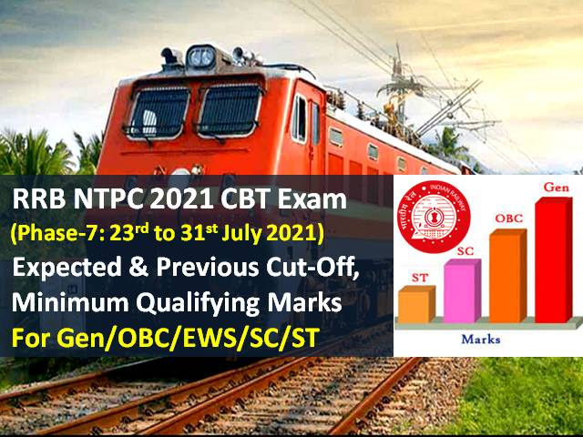 RRB NTPC 2021 Exam (Phase-7) Expected Cutoff Marks Categorywise (Gen/OBC/ EWS/SC/ST): Check Minimum Qualifying Marks & Previous Cutoff Regionwise