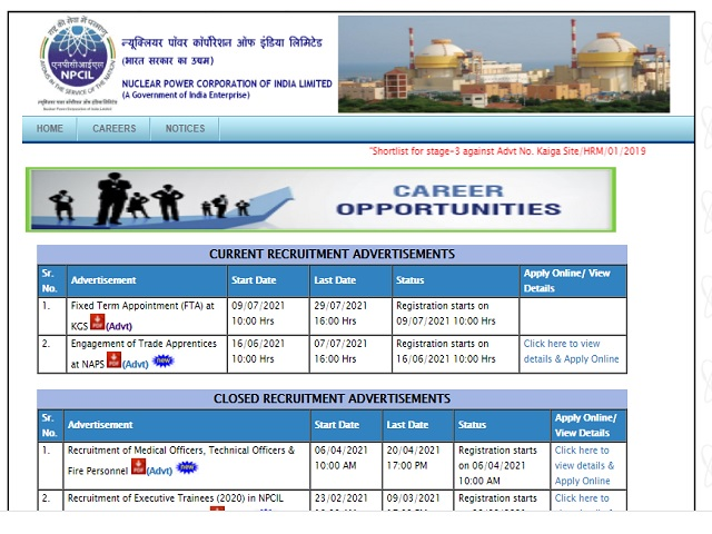 NPCIL Recruitment 2021: Apply Fixed Term Engineer Posts