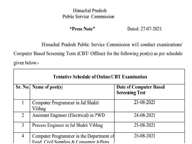 HPPSC Various Post Exam Date 2021