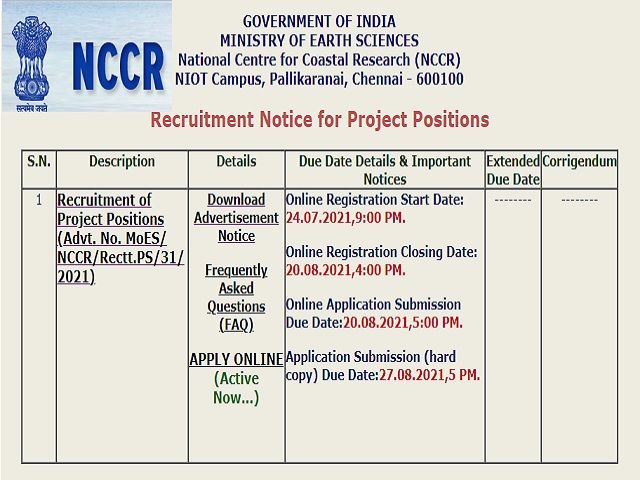 NCCR Recruitment 2021: Project Scientist, SRF & Other Posts