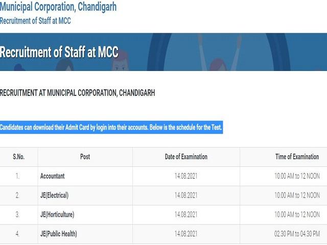 MC Chandigarh Admit Card 2021