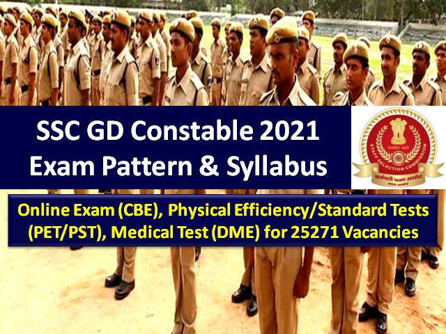 SSC GD Constable Exam Pattern & Syllabus 2021 for Recruitment of 25271 Vacancies: Check Online Exam (CBE), Physical Efficiency/ Standard Tests (PET/PST), Medical Test (DME) Details