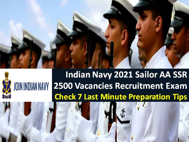 Indian Navy Sailor AA SSR 2021 Recruitment Exam for 2500 Vacancies Commenced: Check 7 Last Minute Tips to Clear Written Exam & PFT
