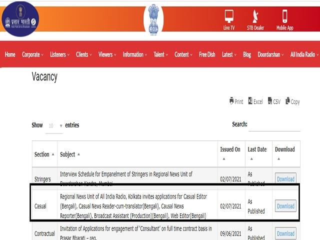 Prasar Bharti Recruitment 2021