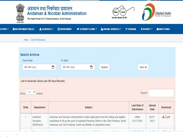 Andaman and Nicobar Administration Civil Defence Volunteer Posts