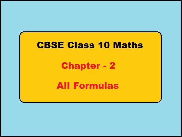 CBSE Class 10 Maths Chapter 2 Polynomials Formulas
