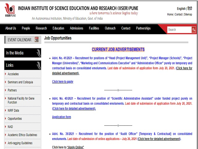 IISER Pune Recruitment 2021: Apply Head, Project Manager & Other Posts