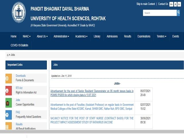 Pt BD Sharma University of Health Sciences Recruitment 2021: Apply Senior Resident/Demonstrator Posts