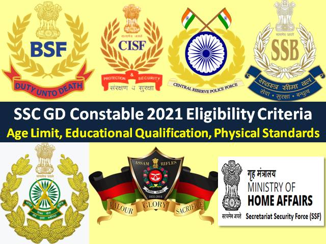 SSC GD Constable 2021 Eligibility Criteria (10th Pass Can Apply @ssc.nic.in): Check Age Limit, Educational Qualification, Physical Standards for Recruitment  of 25271 Vacancies