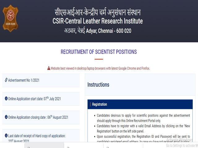 CSIR CLRI Recruitment 2021: Apply Senior Scientist & Scientist Posts