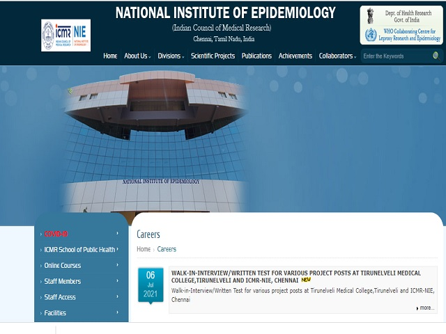 ICMR NIE Project Technical Officer, Project Multi-Tasking Staff & Other Posts