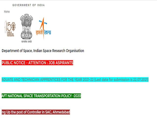 ISRO Recruitment 2021: Apply Graduate & Diploma (Technician) Apprentice Posts