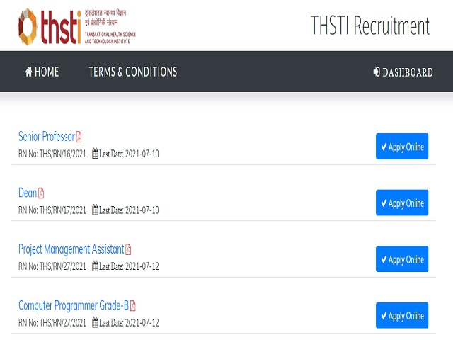 THSTI Recruitment 2021: Apply Research Associate, Project Scientist, Project Associate & Other Posts