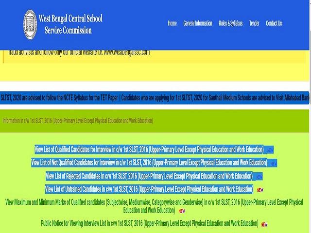 WBSSC Upper Primary Interview List