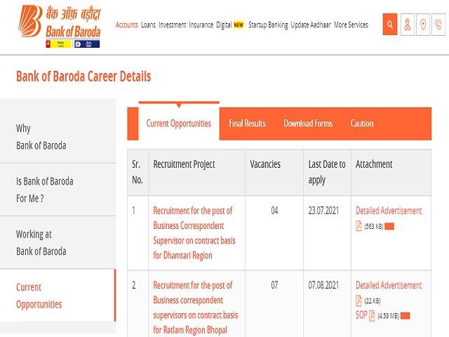 Bank of Baroda (BOB) Recruitment 2021: Apply Business Correspondent Supervisor Posts before 23 July