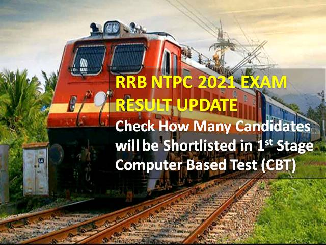 RRB NTPC 2021 Exam Result Latest Update: Check How Many Candidates will be Shortlisted in 1st Stage Computer Based Test (CBT-1)