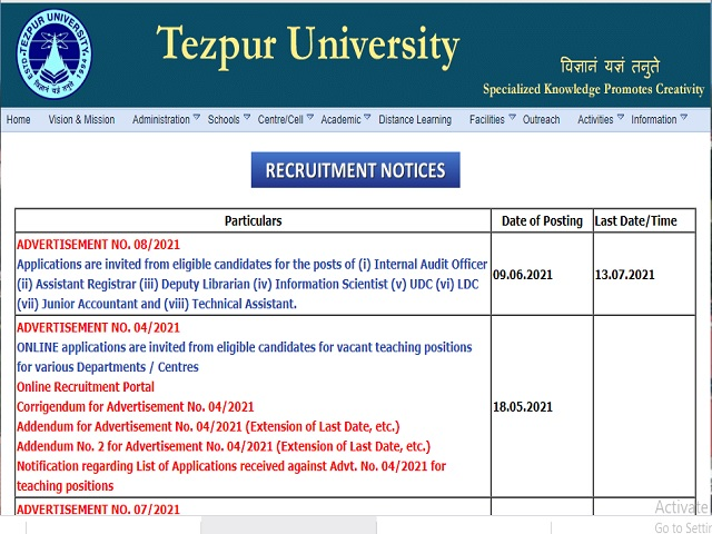 Tezpur University Recruitment 2021: Apply 16 UDC, LDC and Other Posts