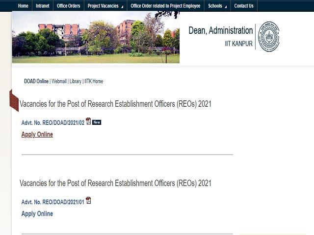 IIT Kerala Recruitment 2021: Apply Research Establishment Officers (REO) Grade 1 and Principal REO Posts