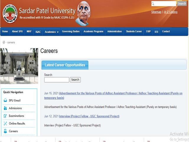 Sardar Patel University Recruitment 2021: Apply Adhoc Assistant Professor/Adhoc Teaching Assistant Posts