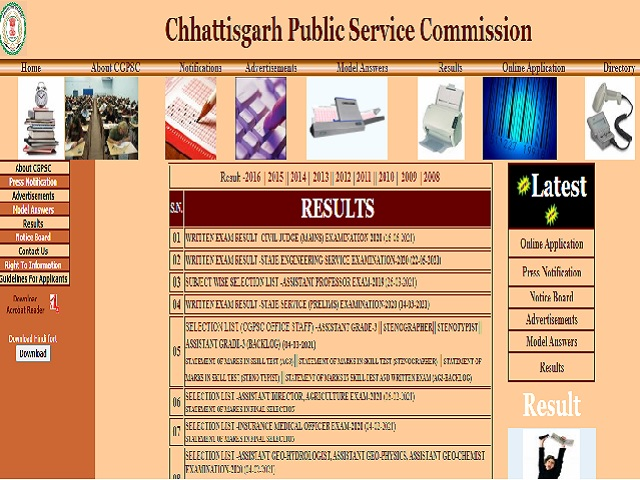 CGPSC Civil Judge Mains 2020 Result
