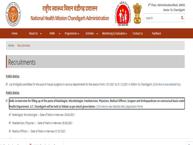 NHM Chandigarh Medical College Radiologist, Microbiologist, Pediatrician, Physician & Other Posts