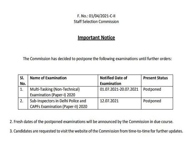 SSC MTS Exam 2021 Postponed