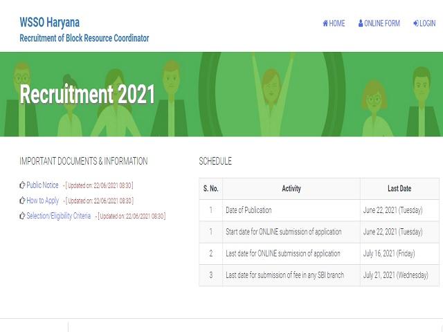 WSSO Haryana Recruitment 2021: Apply Block Resource Coordinator Posts