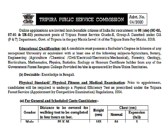 Tripura Forest Service Mains 2020 Admit Card