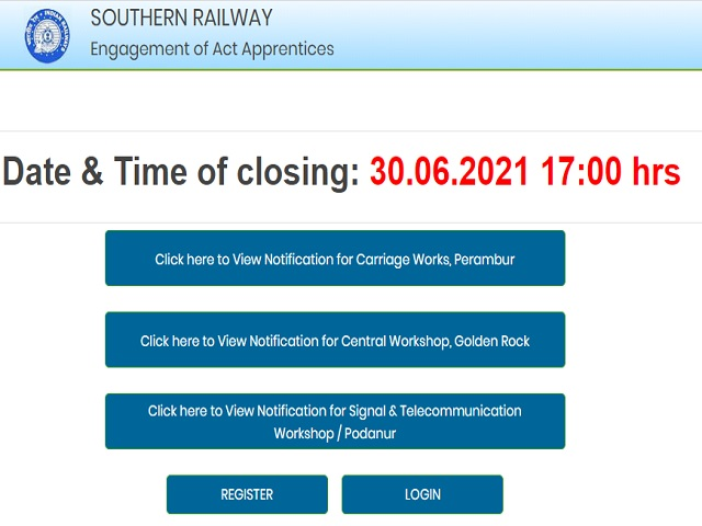 Southern Railway Recruitment 2021: Apply Apprentice Posts