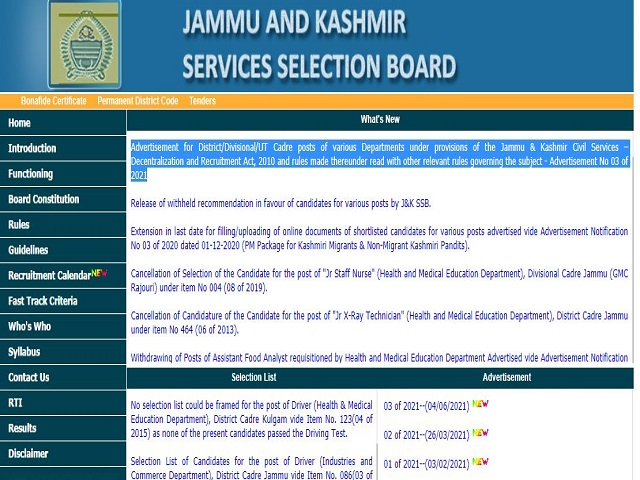 JKSSB Recruitment 2021 under JK Civil Service