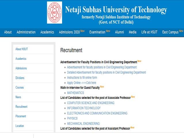 NSUT Recruitment 2021: Apply Professor, Associate Professor and Assistant Professor Posts